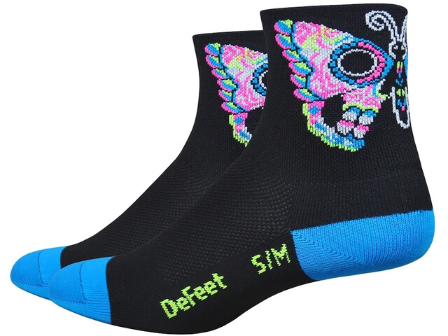 "DeFeet Aireator 3"" Socks Women Sugarfly (Black and Blue)"